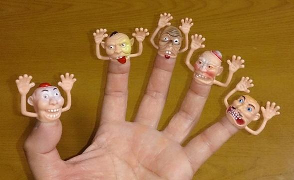 ダイソーの指人形5本セット使用画像